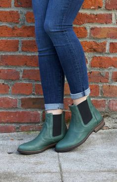 Willow has ease and comfort on her side. Green leather uppers with elastic side panels add a small pop of color to your outfit. Wear this chelsea boot with everything this fall. Part of the re-souL Collection. Made in Italy.