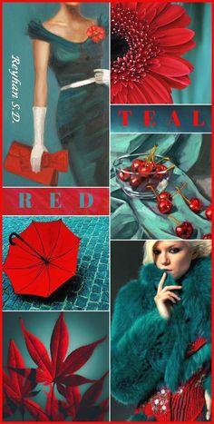 Red and teal color combo looks interesting Color Schemes Colour Palettes, Colour Pallete, Color Trends, Color Combos, Combination Colors, Style Bleu, Bedroom Colour Palette, Bedroom Colors, Teal