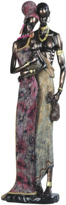 23 Inch African Lady In Pink Dress with Man Figurine African American Art, African Men, Black Women Art, Black Art, African Figurines, African Sculptures, Large Paper Flowers, African Design, Black Is Beautiful
