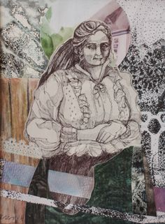 """Art collage by Satu Laaninen """"Local"""" ballpoint pen, acrylics, ripped integlio print and so on..."""