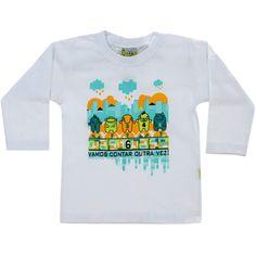 Camiseta Infantil Masculina Vamos Contar Branca - Jaca-Lelé :: 764 Kids | Roupa bebê e infantil