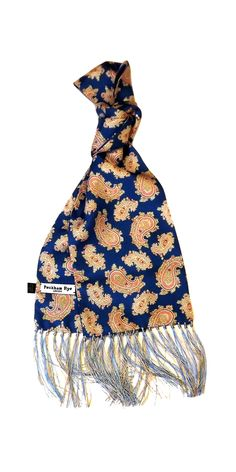 S2 Men/'s Paisley Scarf in 60/'s Mod Inspired Blue and Orange by Soho Scarves