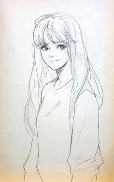 Manga Drawing Tips ArtStation - drawing, Jinyong Kim - Anime Drawings Sketches, Pencil Art Drawings, Anime Sketch, Manga Drawing, Drawing Faces, Hair Drawings, Human Drawing, Mangaka Anime, Arte Sketchbook