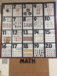FDK-Reggio Inspired Math. Using natural materials to represent numbers to 20.