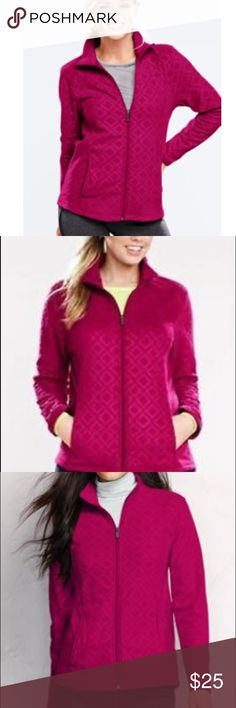 """Lands End • Thermacheck raspberry embossed fleece Lands End """"thermacheck"""" embossed fleece zip up jacket in """"raspberry sorbet"""" color. Size XS. Very soft! EUC! Mock neck. Color is just like cover photo. Lands' End Jackets & Coats"""