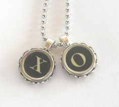 Typewriter Key Necklace Hugs and Kisses XO by busterandboo on Etsy