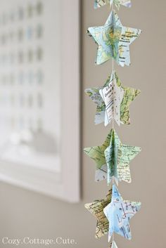 star garland- would be easy DIY (this one is cut from maps).I'm thinking out of patriotic paper for the Map Crafts, Diy And Crafts, Arts And Crafts, July Crafts, Star Garland, Bunting Garland, Buntings, Garland Ideas, Diy Xmas