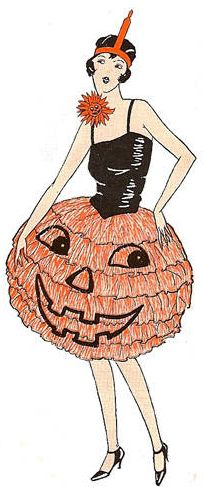 vintage halloween illustrations, pumpkin, orange, black