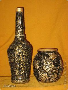 Декор предметов Бумагопластика Лепка Декор бутылок Бумага Тесто соленое фото 1