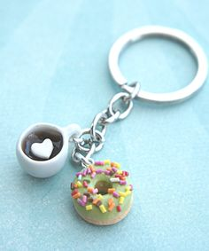 donut and coffee keychain - Jillicious charms and accessories - 1