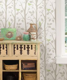 Look at this Gray & Green Sitting In A Tree Peel & Stick Wallpaper on #zulily today!