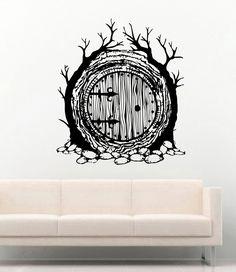 Lord of the Rings Vinyl Wall Decals Hobbit Door Decor Stickers Vinyl Mural Door Murals, Wall Stickers Murals, Vinyl Wall Decals, Hobbit Door, The Hobbit, Rustic Wood Wall Decor, Nautical Wall Art, World Map Wall Art, Cat Decor