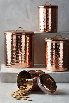 Anthropologie Copper-Plated Canister Set (affiliate)