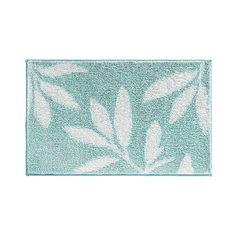 InterDesign Microfiber Rectangular Leaves Rug ($33) ❤ liked on Polyvore featuring home, bed & bath, bath, bath rugs, mint, leaves bath rug, plush bath rugs, non skid bathtub mats, non skid bathroom rugs and toilet mat