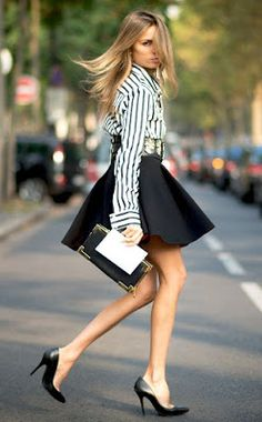 Just a pretty style | Latest fashion trends: Office outfit | Striped shirt and tulip skirt