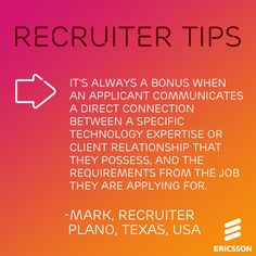 #JobSearching? Consider this #Ericsson #RecruiterTip while you write your resume and go on interviews! To view open positions at Ericsson, click here: http://jobs.ericsson.com/