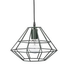 Bloomingville+Pernille+Pendellampe+-+Lekker+og+elegant+taklampe+i+mørk+grønn+med+grønn+ledning.