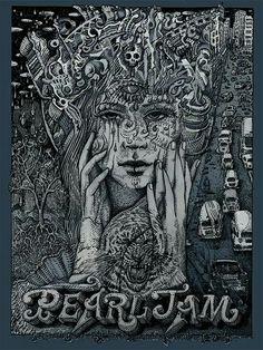 Pearl Jam Sao Paulo Brazil Poster by David Welker Pearl Jam Tattoo, Pearl Jam Lyrics, Pearl Jam Shirt, Arte Grunge, Grunge Art, Tour Posters, Band Posters, Event Posters, Movie Posters