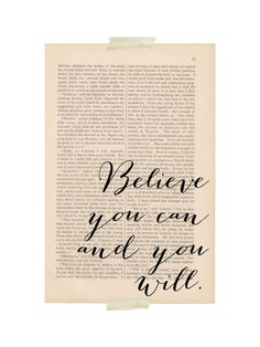 motivational print calligraphy - Believe You Can and You Will - dictionary art inspirational quote
