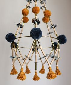 Pajaki Paper & Pompom Chandeliers by HelloMarlaCo Diy Crafts For Adults, Diy And Crafts, Arts And Crafts, Paper Crafts, Mobiles, Cot Mobile, Idee Diy, Beaded Chandelier, Diy Embroidery