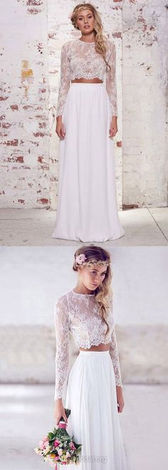 White Prom Dresses, Long Prom Dresses, Two Piece Prom Dresses Lace, A-line Prom Dresses Long Sleeve, Scoop Neck Prom Dresses Chiffon, Modest Prom Dresses For Teens Ruffles