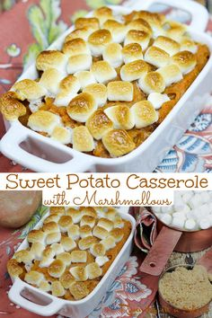 Sweet Potato Casserole with Marshmallows Recipe - Easy, simple, and delicious baked Thanksgiving Sweet Potato Recipe with sweet potatoes, brown sugar, and marshmallow on top. Southern and perfect for Thanksgiving dinners, Christmas or Easter. This family recipe is a crowd favorite and has been made for generations! / Running in a Skirt #thanksgiving #sweetpotato #thanksgivingrecipes #holidayrecipes #southernrecipes