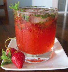 TownBranchBourbonStCocktail - 2 oz Town Branch bourbon, 2 fresh strawberries, hulled and quartered 3/4 oz ginger syrup make with equal parts fresh ginger juice and granulated sugar. 1/2 oz honey syrup (1:1 honey dissolved in water), 3/4 oz fresh lemon juice. 2 dashes of bitters, Club soda, Ice cubes.   In the base of a shaker, muddle strawberries with honey syrup. Add remaining ingredients, except club soda, and shake with ice. Strain into an ice-filled highball glass, top with soda and…
