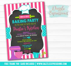 Printable Baking Party Chalkboard Birthday Invitation | Chef Party | Kids Cooking Party | Cupcakes, Pies, Cookies | Cupcake Toppers | Favor Tags | Recipe Card | Food Labels | Banner | Signs | Party Package Decor available!