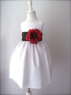 White Flower Girl Dress with Brown Sash and beautiful Strawberry Red Flower- Pleasantly Peasant Tea Dress
