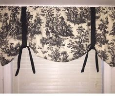 Waverly window valance, custom made by me, toile black and off white cream color Window Valance, Kitchen Fabric, Windows, Front Porch Decorating, White Decor, Color, Off White, Toile Curtains, White