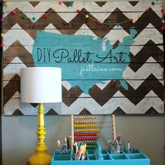 DIY Pallet Art in school room    Doing this for my room