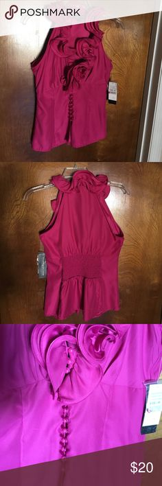Rampage fuchsia, ruffled top Eye catching!  Medium, RAMPAGE top, fuchsia, ruffled neckline. button detail in the front, fitted elastic in the back Rampage Tops Blouses