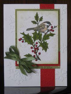 Christmas Chickadee with embossing