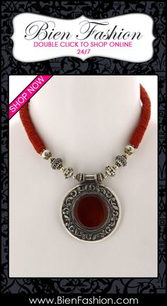 Bold Necklace | Bold Jewelry | Chunky Necklace  ♥ Traditional Necklace Indian Silver Amulet Pendant Red Onyx Jewelry $365.99