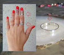 925 Sterling Silver Band Rings, Midi Ring, 1 mm, 2 mm, 3 mm. All sizes
