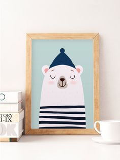 Bear print White bear Nursery poster Kids wall art Cute art Kids room prints Pastel colors Baby nursery decor Kids illustration - Cute print perfect to decorate your nursery Printed on satin acid-free paper using professional printers colors dont fade Bear Nursery, Baby Nursery Decor, Animal Nursery, Nursery Prints, Nursery Wall Art, Woodland Nursery, Wall Prints, Poster Prints, Nursery Decor