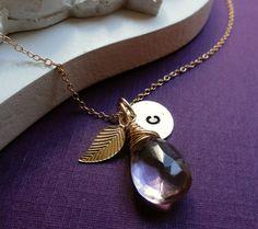 Personalized birthstone Necklace with leaf charm & by BriguysGirls, $42.00