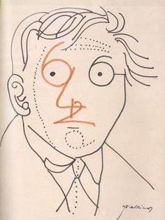 Portrait of Raymond Queneau by Mario Prassinos