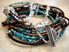 Tophatter : Boho Chic Endless Leather Wrap Beaded Bracelet with ...