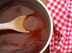Homemade Kansas City Style BBQ Sauce - homemade allows you to control what goes into it whether it's the amount of heat or sugar. You'd be surprised to learn that most BBQ sauces sold in the supermarket contain high fructose corn syrup. Sauce Dips, Sauce Recipes, Cooking Recipes, Kc Bbq Sauce Recipe, Sweet And Tangy Bbq Sauce Recipe, Rib Recipes, Hot Sauce, Chutneys, Skinny Recipes