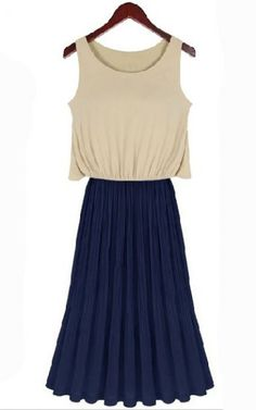 Apricot Sleeveless Contrast Blue Pleated Maxi Dress pictures