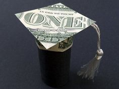 Graduation Cap Diploma Made of Money Dollar Origami Morterboard Scroll Tassel Origami Gifts, Money Origami, Origami Paper Art, Origami Ideas, Folding Money, Origami Folding, Origami Boxes, Paper Folding, Origami Instructions