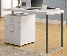White Hollow-Core Left or Right Facing 48''W Desk, I-7027 by Monarch Specialties by Monarch Specialties | BizChair.com