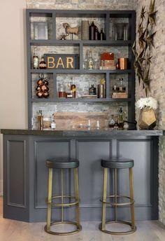 Home Bar Rooms, Home Bar Decor, In Home Bar Ideas, Modern Home Bar Designs, Home Decor Ideas, Pub Decor, Modern Bar, Home Design Decor, Decor Room