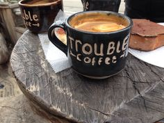 Exclusive: Trouble Coffee Company Mug.  I have had the privilege to collaborate with Trouble Coffee Company on their house mugs. here is a wonderful article all about Guilietta and Trouble Coffee. There is also an image of a mug of mine included.  http://www.psmag.com/navigation/health-and-behavior/toast-story-latest-artisanal-food-craze-72676/