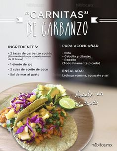 "Hábitos Health Coaching | Tacos de ""carnitas"" de garbanzo…"