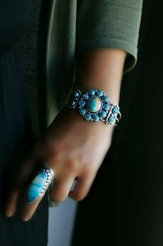 Your Soul's Flower - Turquoise Cluster Cuff Bracelet
