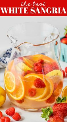 White Sangria Recipe White Sangria Recipe This White Sangria Recipe comes together fast with just a few ingredients and is so perfect for entertaining. A big pitcher of white wine sangria is refreshing, delicious, and so easy to make! Sangria Vodka Recipe, Sangria Recipe For A Crowd, Moscato Sangria, Homemade Sangria Recipe Easy, Summer White Sangria Recipe, Easy White Sangria Recipe, Sangria Drink, Barefoot Wine Sangria Recipe, Peach Sangria Recipes
