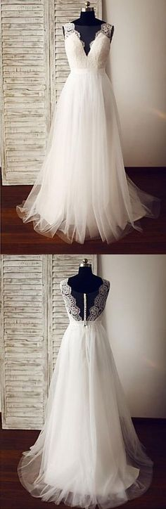 Popular V Neck Tulle Lace Formal Long Beach Wedding Dresses, PM0639 #weddingdress