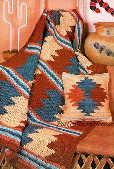 Vintage Crochet Afghan Pattern Southwestern Desert Sunset Blanket & Pillow Set PDF Instant Digital D Crochet Pillow, Tapestry Crochet, Crochet Baby, Blanket Crochet, Afghan Blanket, Chevron Blanket, Knitted Blankets, Vintage Crochet Patterns, Crochet Patterns For Beginners